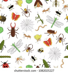 Vector seamless pattern of colorful  insects. Repeat background with isolated bright bee, bumble bee, may-bug, fly, moth, butterfly, caterpillar, spider, ladybug, beetle. Cartoon style illustration