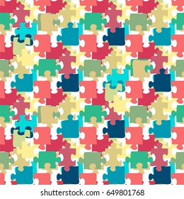 Vector seamless pattern - Colorful Jigsaw Puzzle