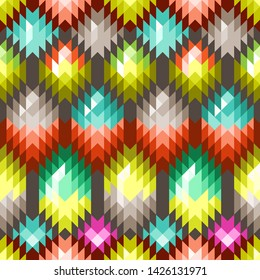 Vector Seamless Pattern. Colorful Ornament for Textile Design. Mix of Triangles, Rhombuses.
