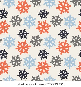 Vector seamless pattern with colorful snowflakes  on a white background, New Year, Christmas