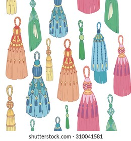 Vector seamless pattern with colorful tassels