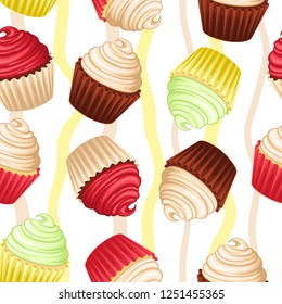 Vector seamless pattern with colorfull capcakes