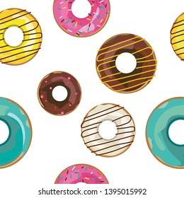 Vector seamless pattern with colorfull donuts. Texture, walpaper, print, background.
