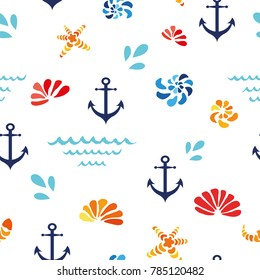 Vector seamless pattern with colorfull sea shells, waves, anchor starfish. Sammer vacation ocean nautical theme illustration for paper design, textile, background, fabric, wrap, package, sea cover