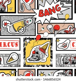 Vector seamless pattern in comic pop art style. Creepy circus elements, evil clown and human skull. Comic book.