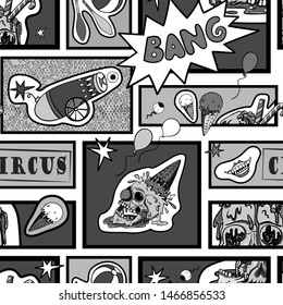 Vector seamless pattern in comic pop art style. Creepy circus elements, evil clown and human skull. Black and white comic book.