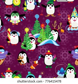 Vector seamless pattern. Compositions with festive penguins on a claret background with snowflakes.