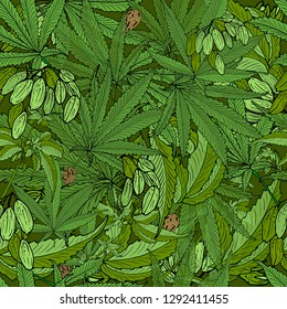 Vector seamless pattern with compositions of hand drawn branches, leaves, fruits and cannabis seeds. Beautiful color green endless background.
