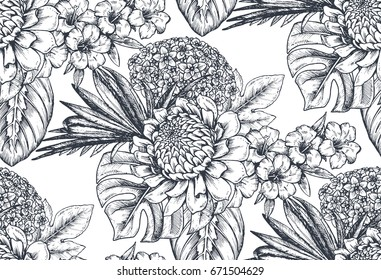 Vector seamless pattern with compositions of hand drawn tropical flowers, palm leaves, jungle plants, paradise bouquet. Beautiful black and white sketched floral endless background