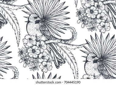 Vector seamless pattern with compositions of hand drawn tropical flowers, palm leaves, jungle plants, paradise bouquet with exotic birds. Beautiful black and white floral endless background