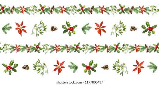 Vector seamless pattern with cone, fir branches, Holly, poinsettia, caramel cane, mistletoe isolated on white. Traditional christmas symbols. For festive design, fabrics, Wallpapers, greeting cards