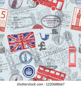 Vector seamless pattern consisting of England symbols or icons. Stamps and travel icons collection. England / UK symbols on fabric background.