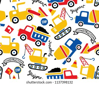 Vector seamless pattern with construction vehicles cartoon