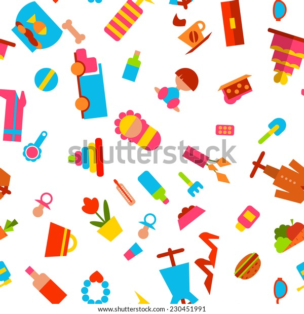 Vector seamless pattern with consumer goods on white background