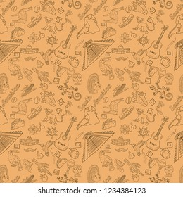 vector seamless pattern, contour drawing on the theme of South America, animals, people, buildings, plants, holidays, map of the continent, the background can be on a separate layer