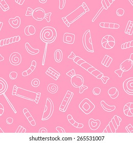 Vector seamless pattern with contour sweets and candies on pink background