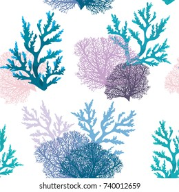 Vector seamless pattern with coral reef on a white background. Underwater wallpaper.