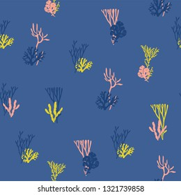 Vector seamless pattern - Corals and algae for printing, fabric, textile