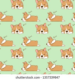 Vector seamless pattern with Corgi Dog Illustrations