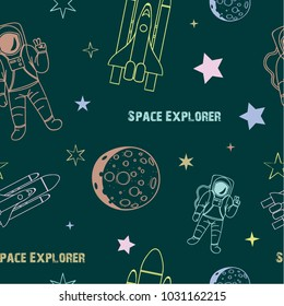 Vector seamless pattern with cosmic objects on a green background. Hand drawn vector doodles.