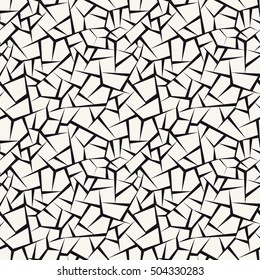 Vector seamless pattern with cracks. Monochrome abstract background. Stylish print with irregular texture.