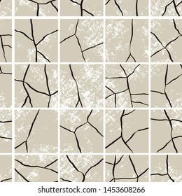 Vector seamless pattern of craquelure on tiles. Stylish grunge texture, consisting of fine cracks on paving. Vector grunge background.