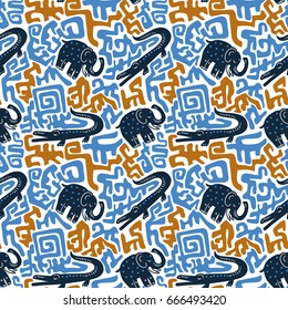 Vector seamless pattern with crocodiles and elephants. Tribal african fabric design.