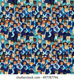 Vector seamless pattern. A crowd of children in the school uniform. Boys and girls of different nationalities in full growth on a blue background