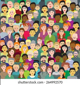 Vector seamless pattern crowd of multinational people different age.Compatible with vector crowd background in my portfolio.