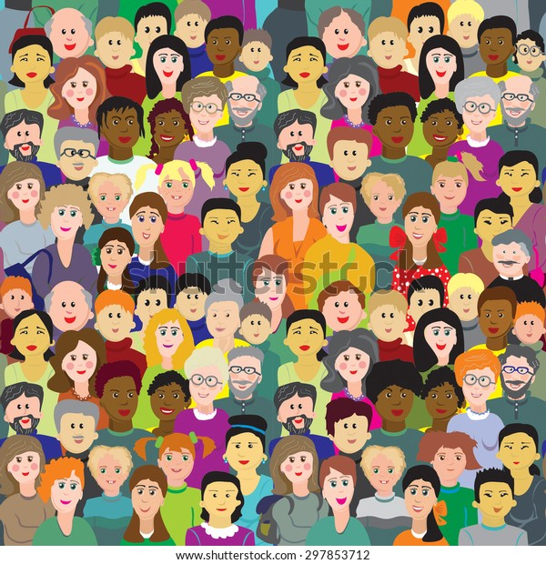 Vector seamless pattern, crowd of multinational people different age.
