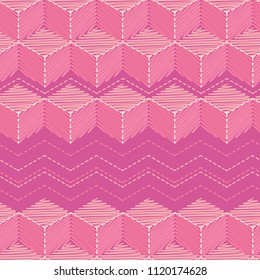 Vector seamless pattern of cubes embroidered with smooth and zigzag stitch embroidered in delicate pink tones
