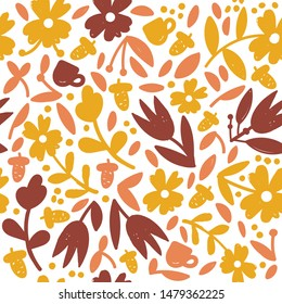 Vector seamless pattern with cup, acorn, falling leaves, autumn floral elements. Bright repeated texture for fall season. Wrapping paper. Autumn background with acorns, nuts, leaves, hot drink cups