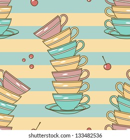vector seamless pattern with cups