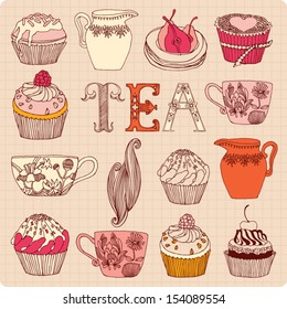 Vector seamless pattern with cups and cakes.