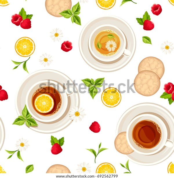 Vector seamless pattern with cups of tea, cookies, lemons, raspberries and leaves on a white background.