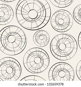 Vector seamless pattern from curve circles. Modern stylish texture. Endless abstract background