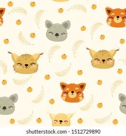 vector seamless pattern with cute animals. red panda, koala, lynx.