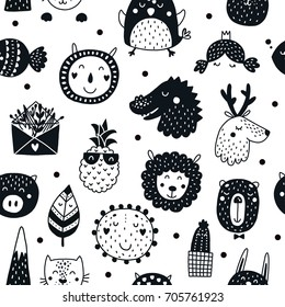 Vector seamless pattern with cute animals. Kids background with lion, deer, pig, sun, succulent, pineapple. Black and white, scandinavian style