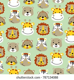 vector seamless pattern with cute animals head