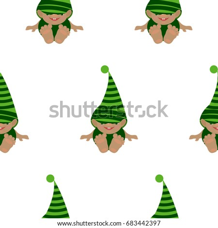 7f3dc588bc0 Vector seamless pattern with cute baby gnome. Flat background. Green hat.  Keeper of