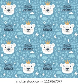 """Vector seamless pattern with cute bear and text """"Little prince"""". Repeated texture for little boys with cartoon characters and hand written text. Blue background with polar bear and golden crown."""