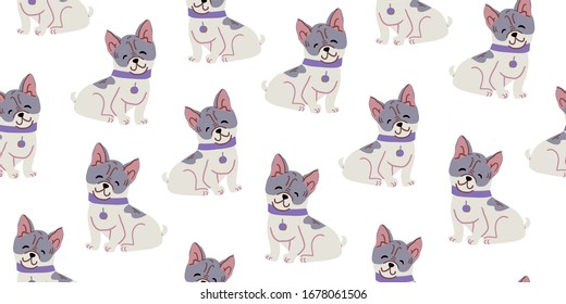 Vector seamless pattern with cute bulldog dogs on white. Nursery, textile, fabric design for kids, boys, girls. Scandinavian style textile. Dog, puppies illustrations.
