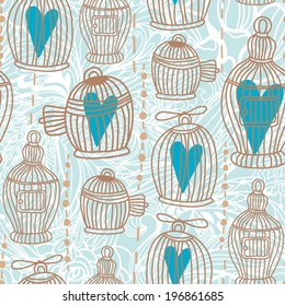 Vector seamless pattern with cute cages and hearts