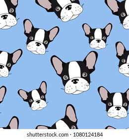 Vector seamless pattern with cute cartoon dog puppies. Can be used as a background, wallpaper, fabric and for other design. French Bulldog pattern