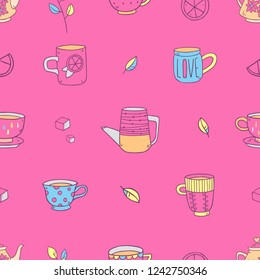 Vector seamless pattern of cute cartoon drawing teapots and cups