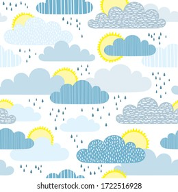 vector seamless pattern with cute cartoon clouds, sun and rain