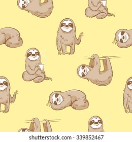 Vector seamless pattern with cute cartoon  sloth  on yellow  background.