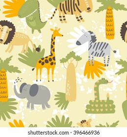 Vector seamless pattern with cute cartoon African animals: lion, tiger, elephant, giraffe and the snake.