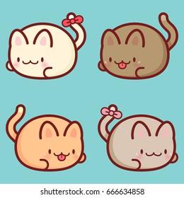 Vector Seamless Pattern. Cute Cartoon Cats. Kawaii Background