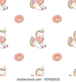 Vector seamless pattern with cute cartoon unicorn eating tasty donuts